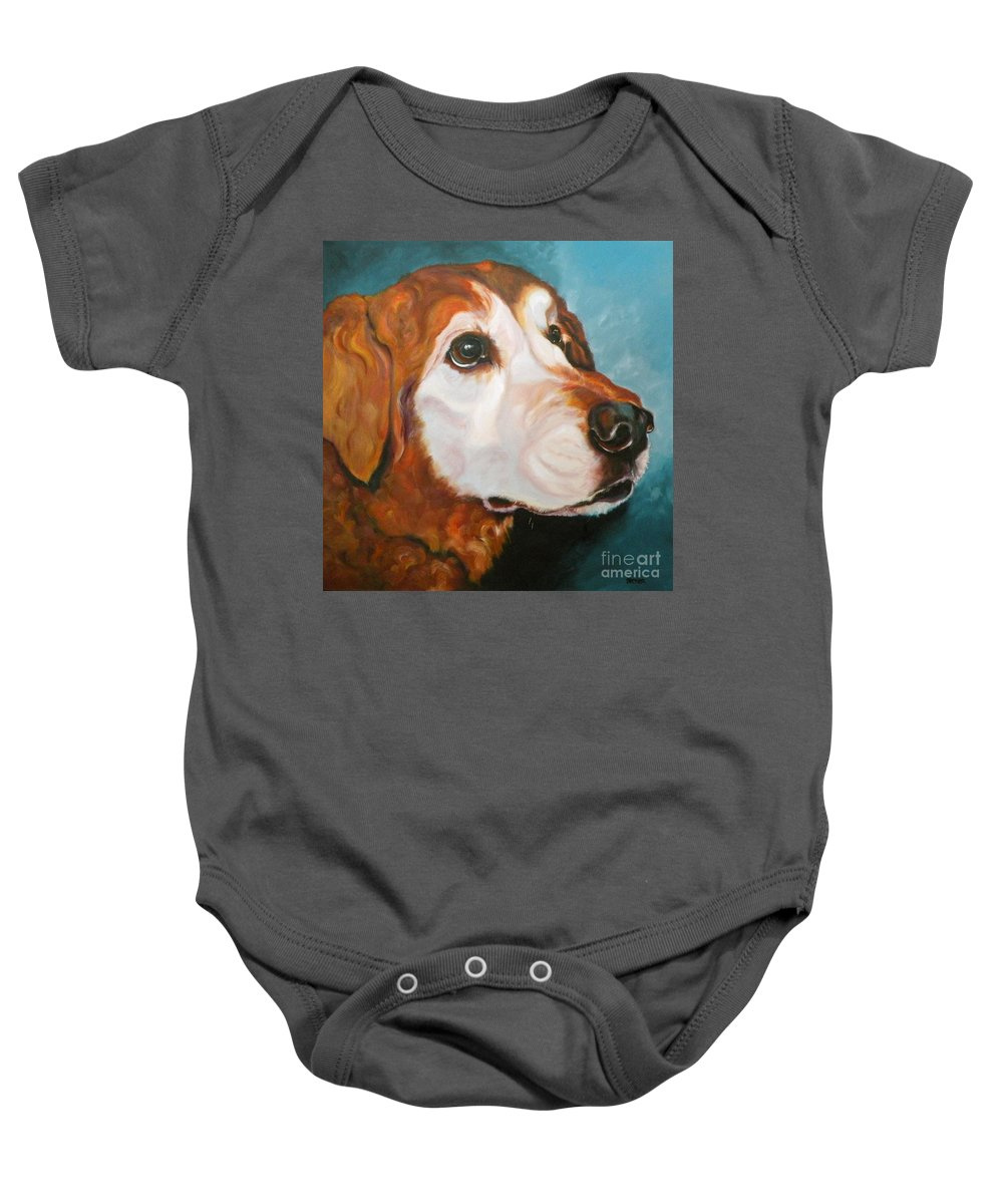 Dogs Baby Onesie featuring the painting Golden Grandpa by Susan A Becker