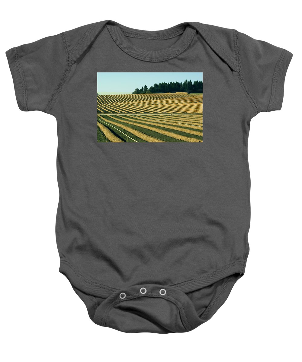 Plow Baby Onesie featuring the photograph Golden Green by Sara Stevenson