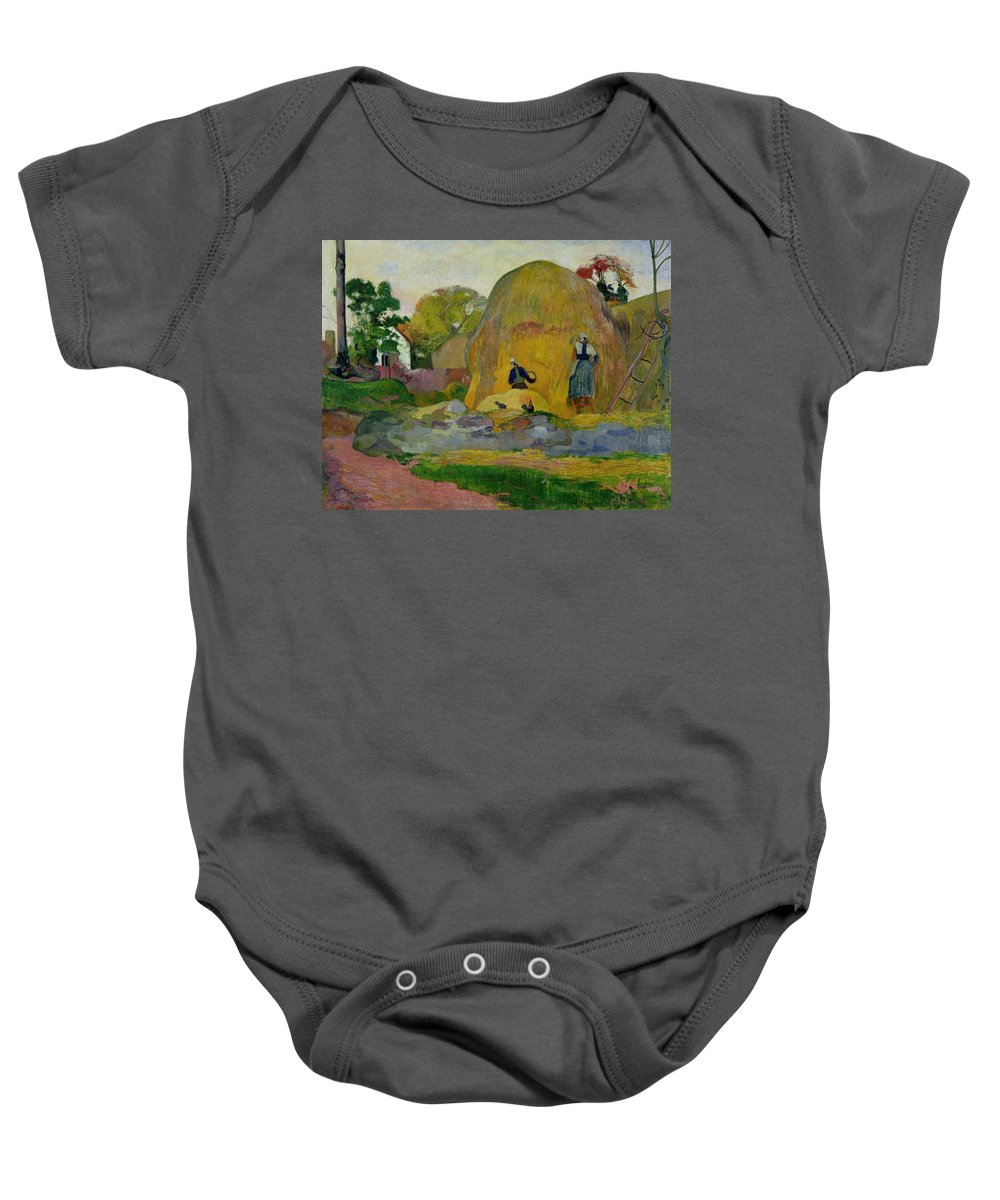 Yellow Haystacks Baby Onesie featuring the painting Golden Harvest by Paul Gauguin