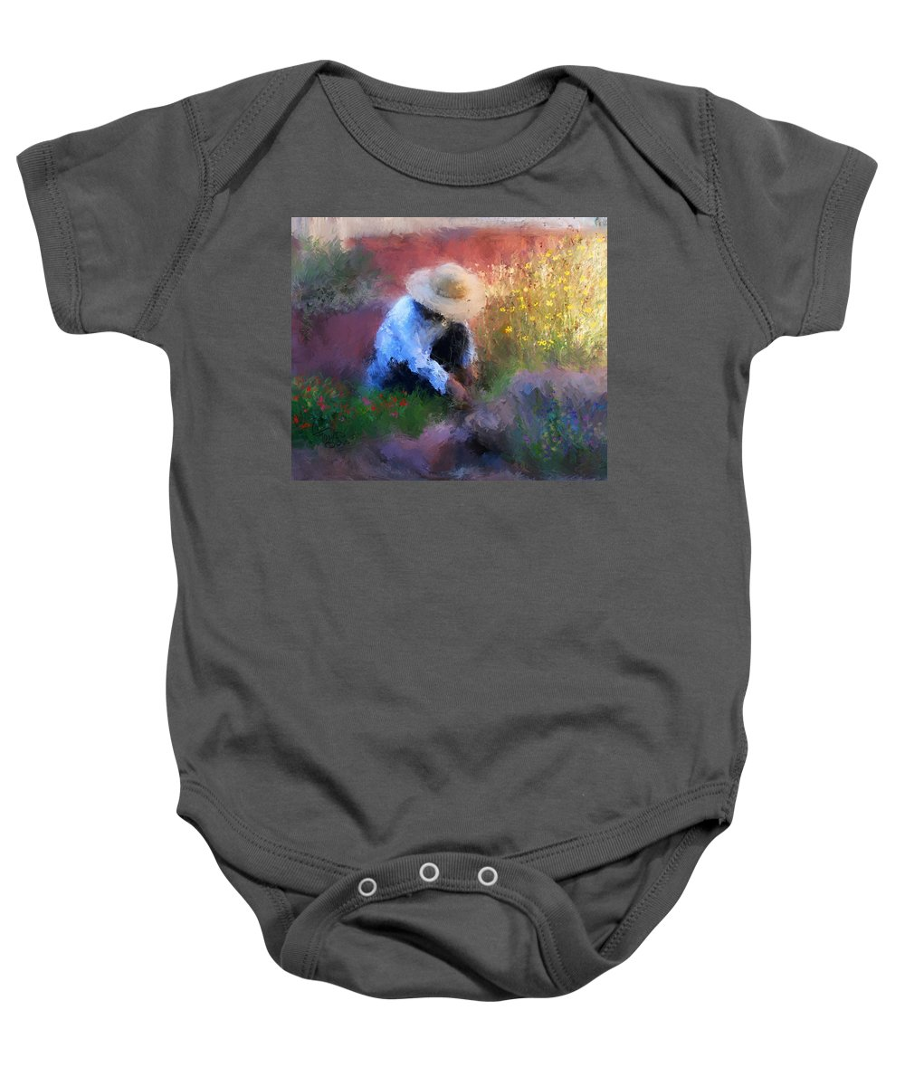 Woman Baby Onesie featuring the painting Golden Light by Colleen Taylor