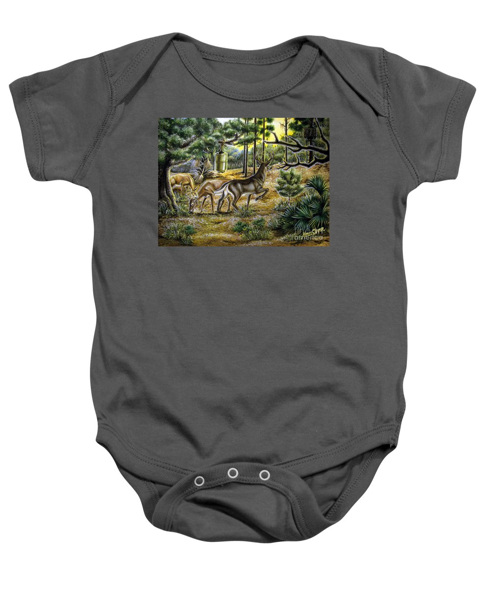 Deer Baby Onesie featuring the painting Golden Opportunity by Monica Turner