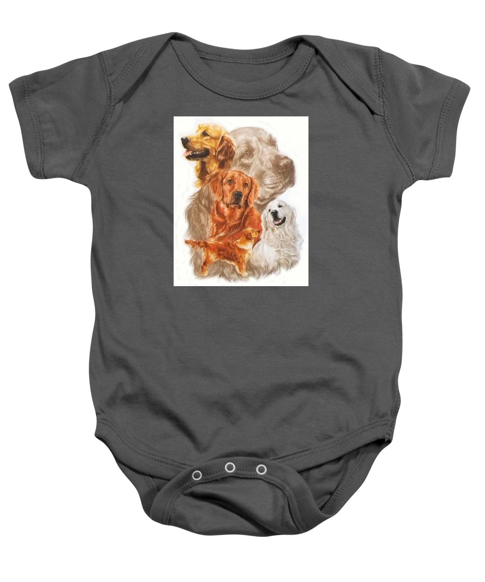 Dog Baby Onesie featuring the mixed media Golden Retriever W/ghost by Barbara Keith
