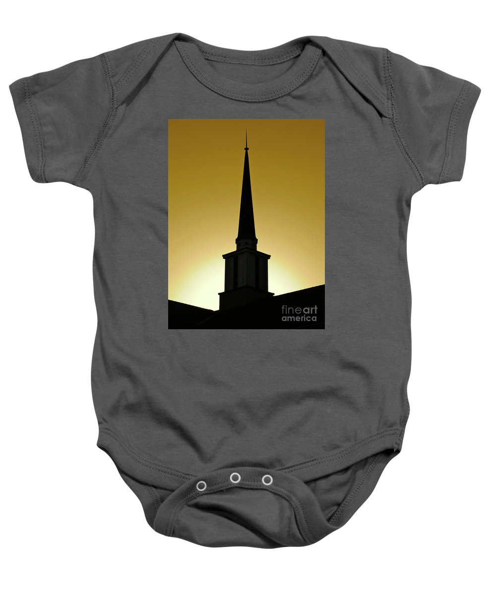 Cml Brown Baby Onesie featuring the photograph Golden Sky Steeple by CML Brown