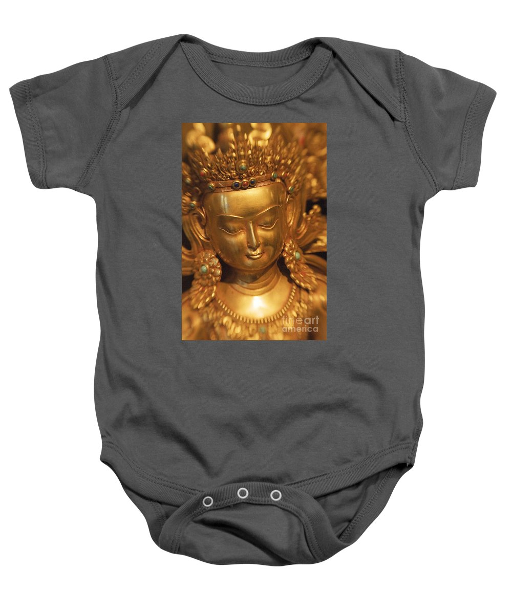 Adorn Baby Onesie featuring the photograph Golden Statue by Ron Dahlquist - Printscapes