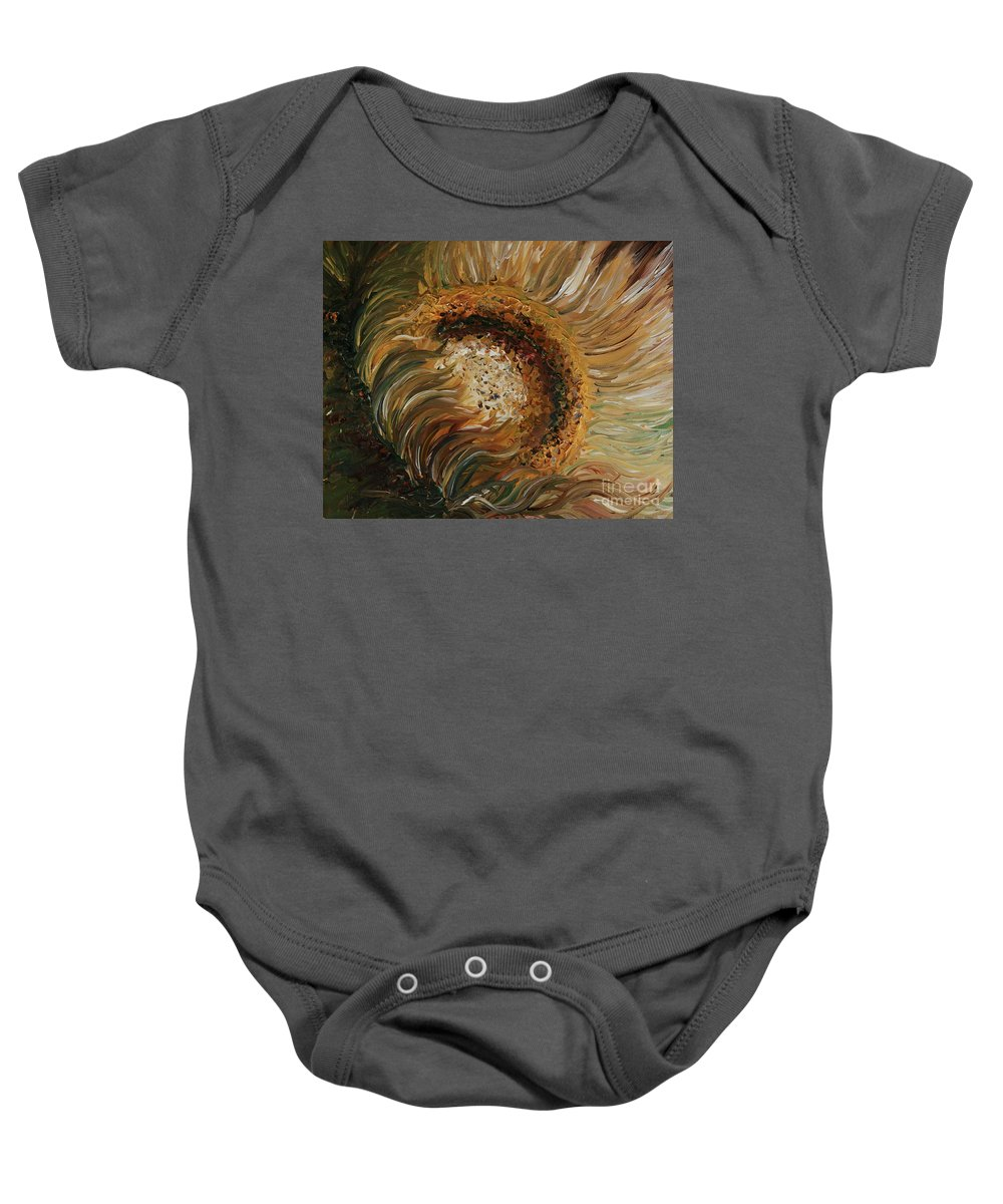 Sunflower Baby Onesie featuring the painting Golden Sunflower by Nadine Rippelmeyer