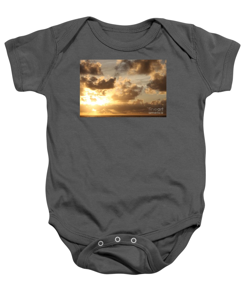 Sunrise Baby Onesie featuring the photograph Golden Sunrise On Kauai by Nadine Rippelmeyer