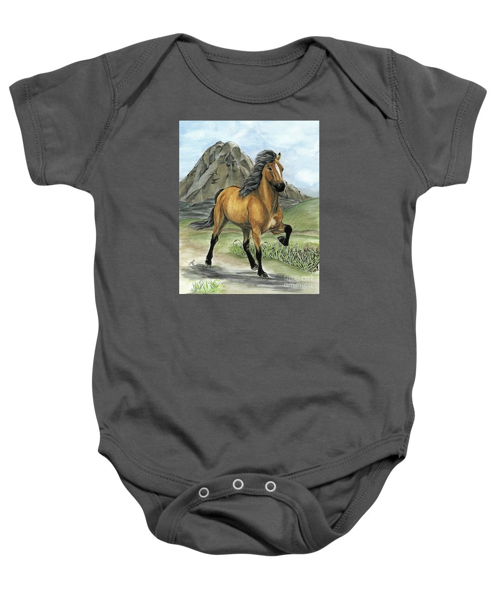 Icelandic Horse Baby Onesie featuring the painting Golden Tolt Icelandic Horse by Shari Nees