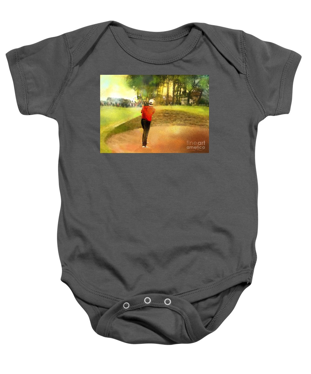 Golf Baby Onesie featuring the painting Golf In Scotland Saint Andrews 01 by Miki De Goodaboom