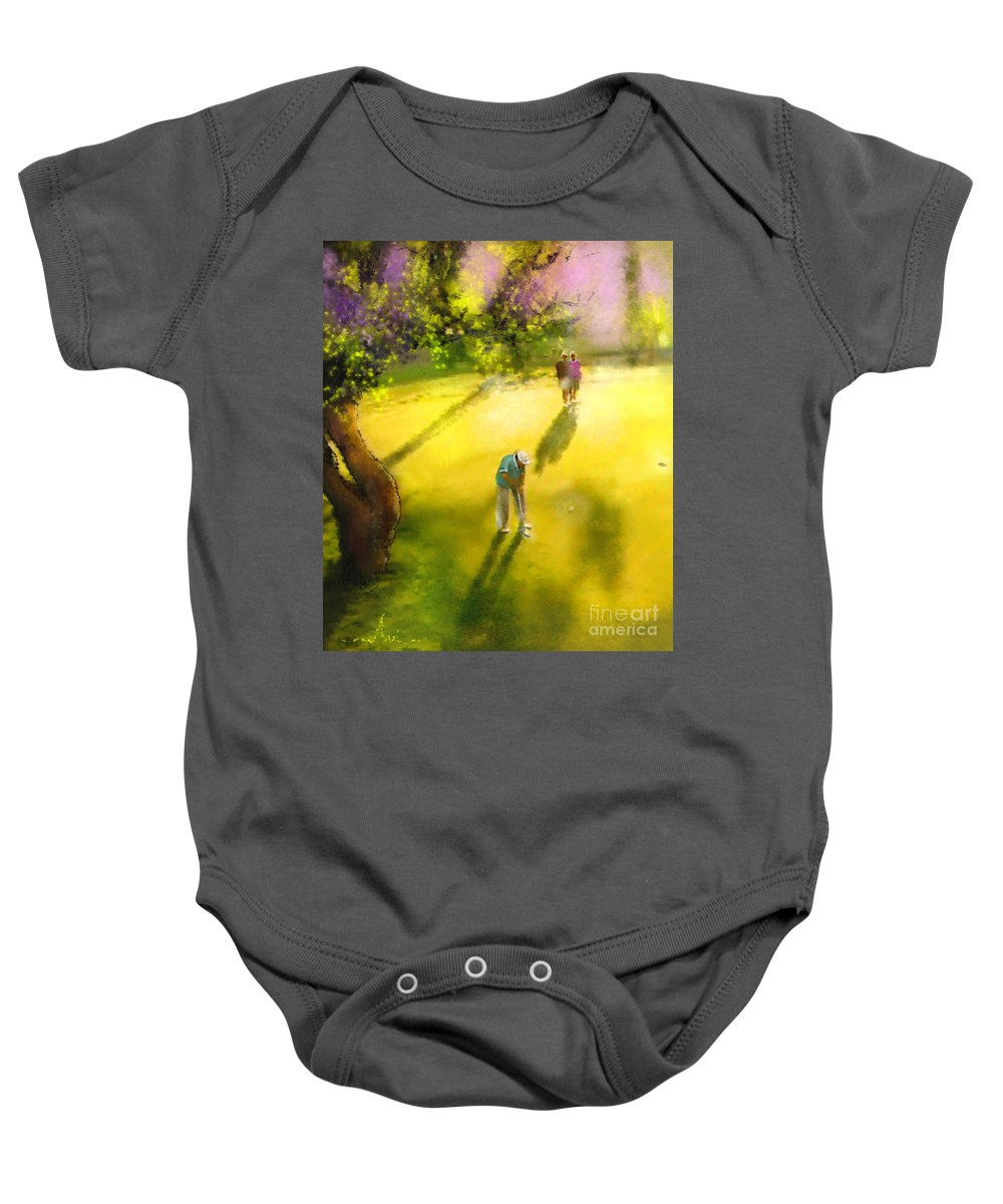 Golf Baby Onesie featuring the painting Golf In Spain Castello Masters 01 by Miki De Goodaboom
