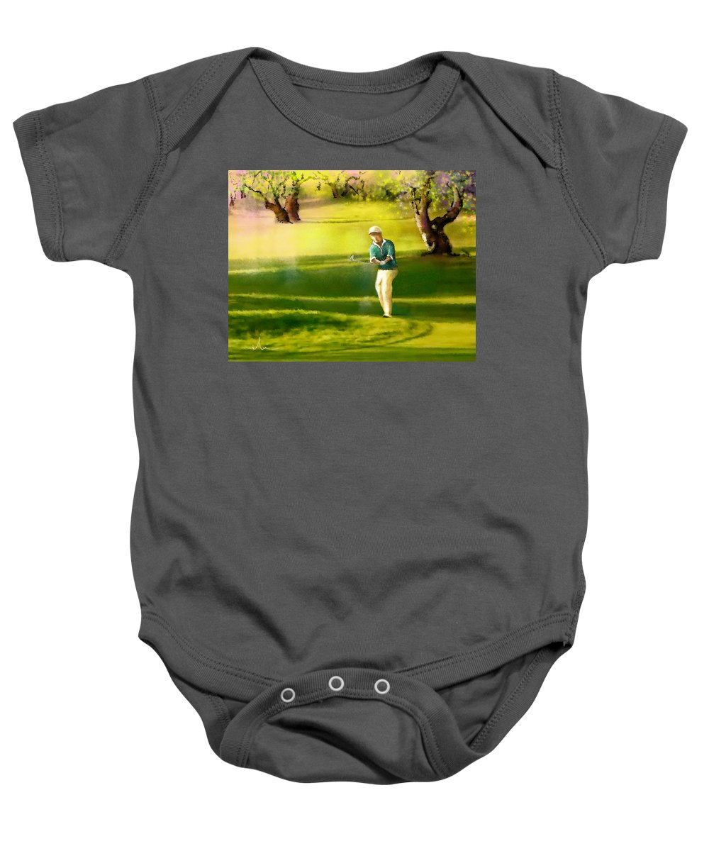 Sports Baby Onesie featuring the painting Golf In Spain Castello Masters 02 by Miki De Goodaboom