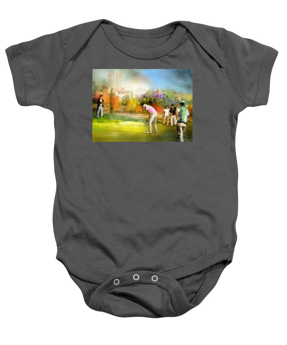 Golf Baby Onesie featuring the painting Golf Madrid Masters 02 by Miki De Goodaboom
