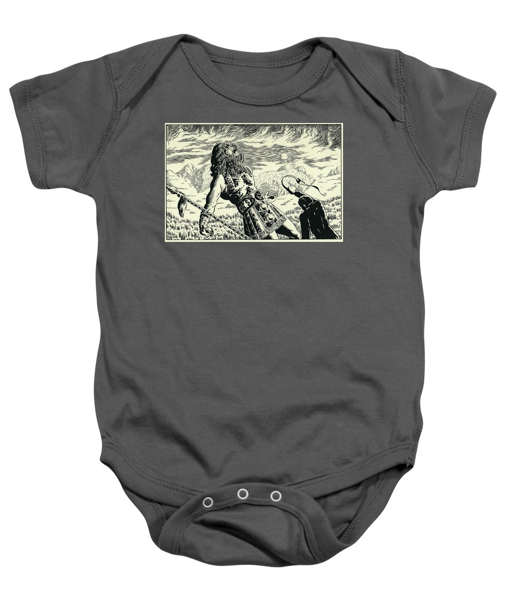 Goliath Baby Onesie featuring the drawing Goliath by Lance Miyamoto