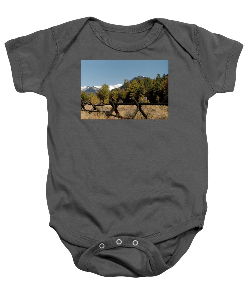 Landscape Baby Onesie featuring the photograph Good Fences Make Good Neighbors .... Robert Frost by John Schneider