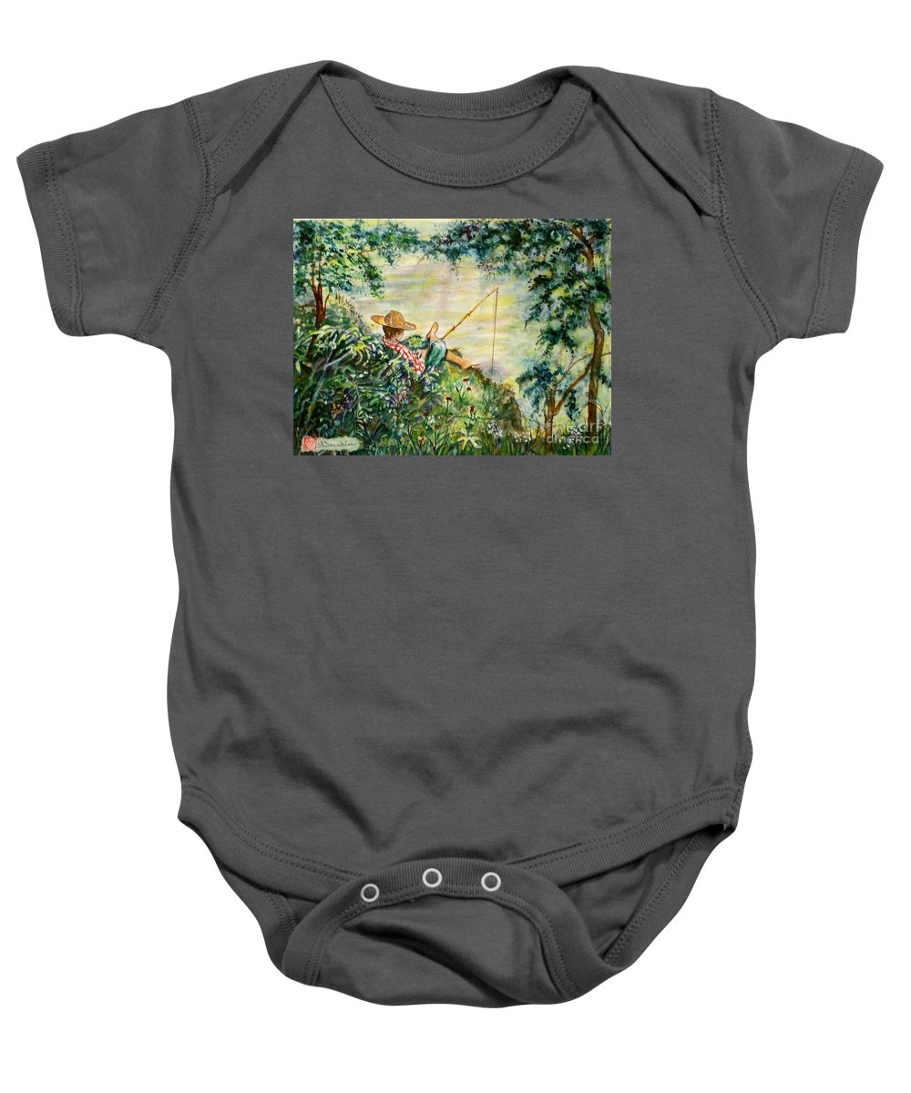Landscape Baby Onesie featuring the painting Good Fishing by Norma Boeckler
