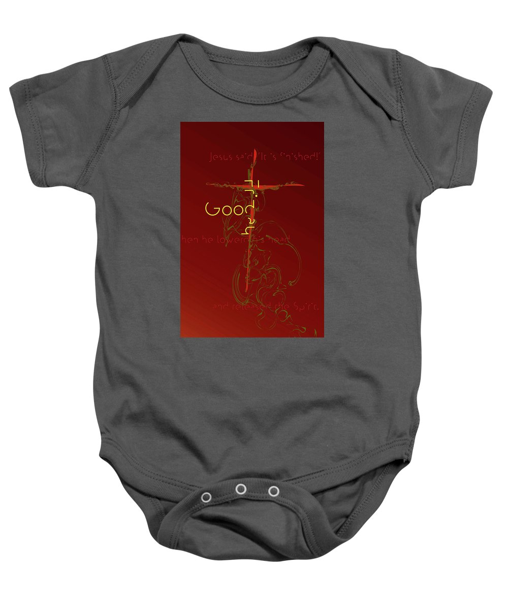Holy Week Baby Onesie featuring the digital art Good Friday by Chuck Mountain