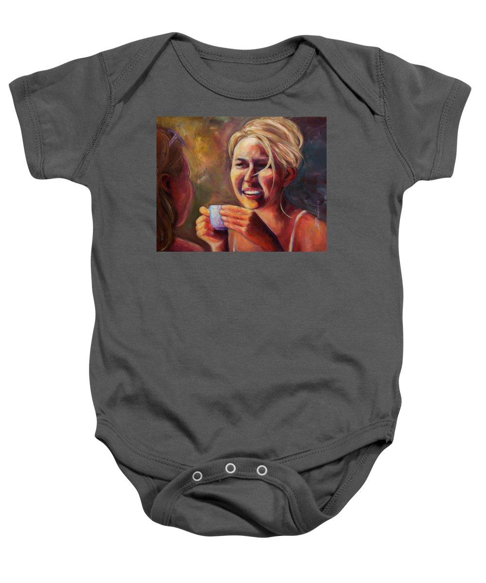 Girl Baby Onesie featuring the painting Gossip by Jason Reinhardt
