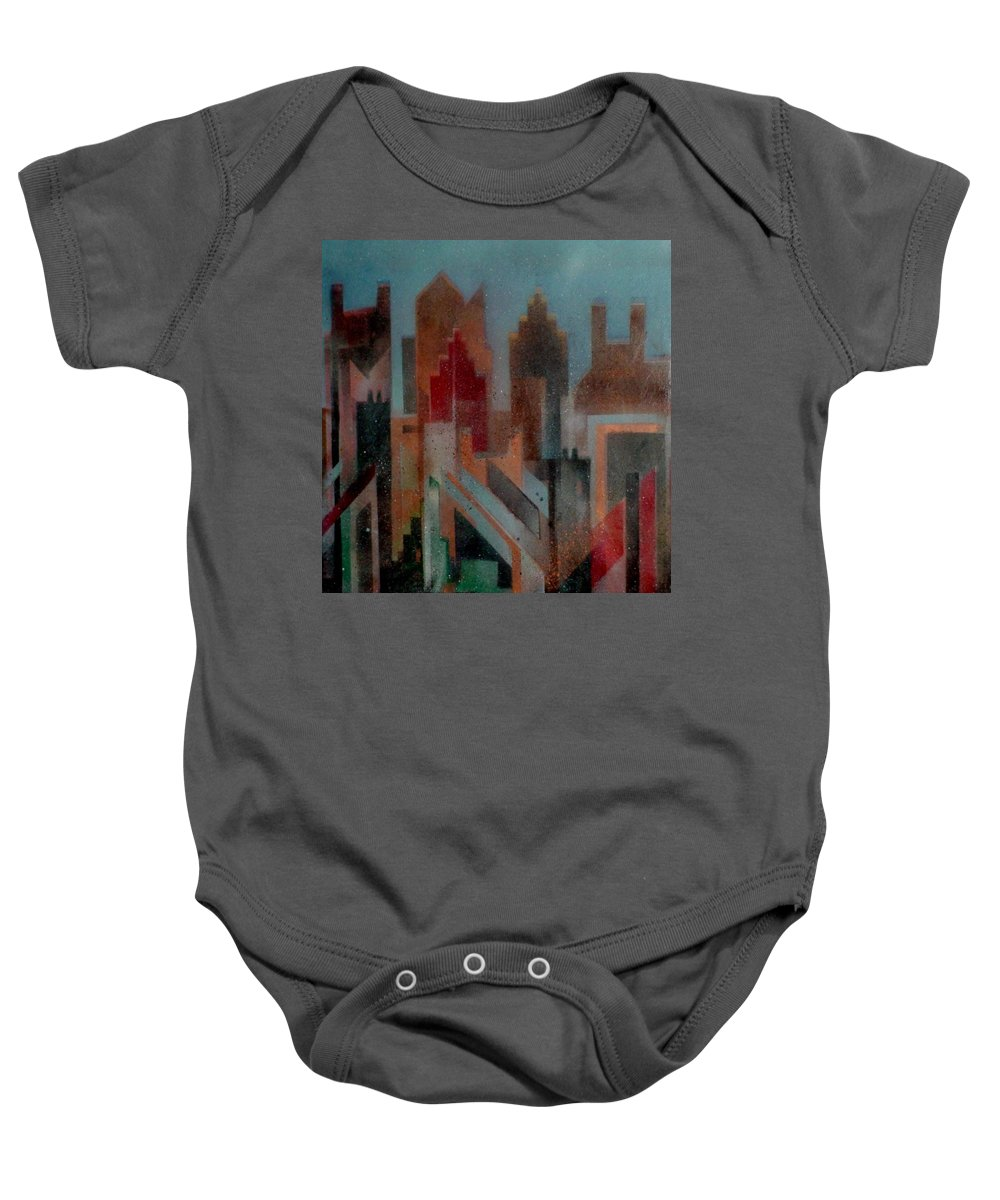 Abstract Baby Onesie featuring the painting Gothem City by Anita Burgermeister