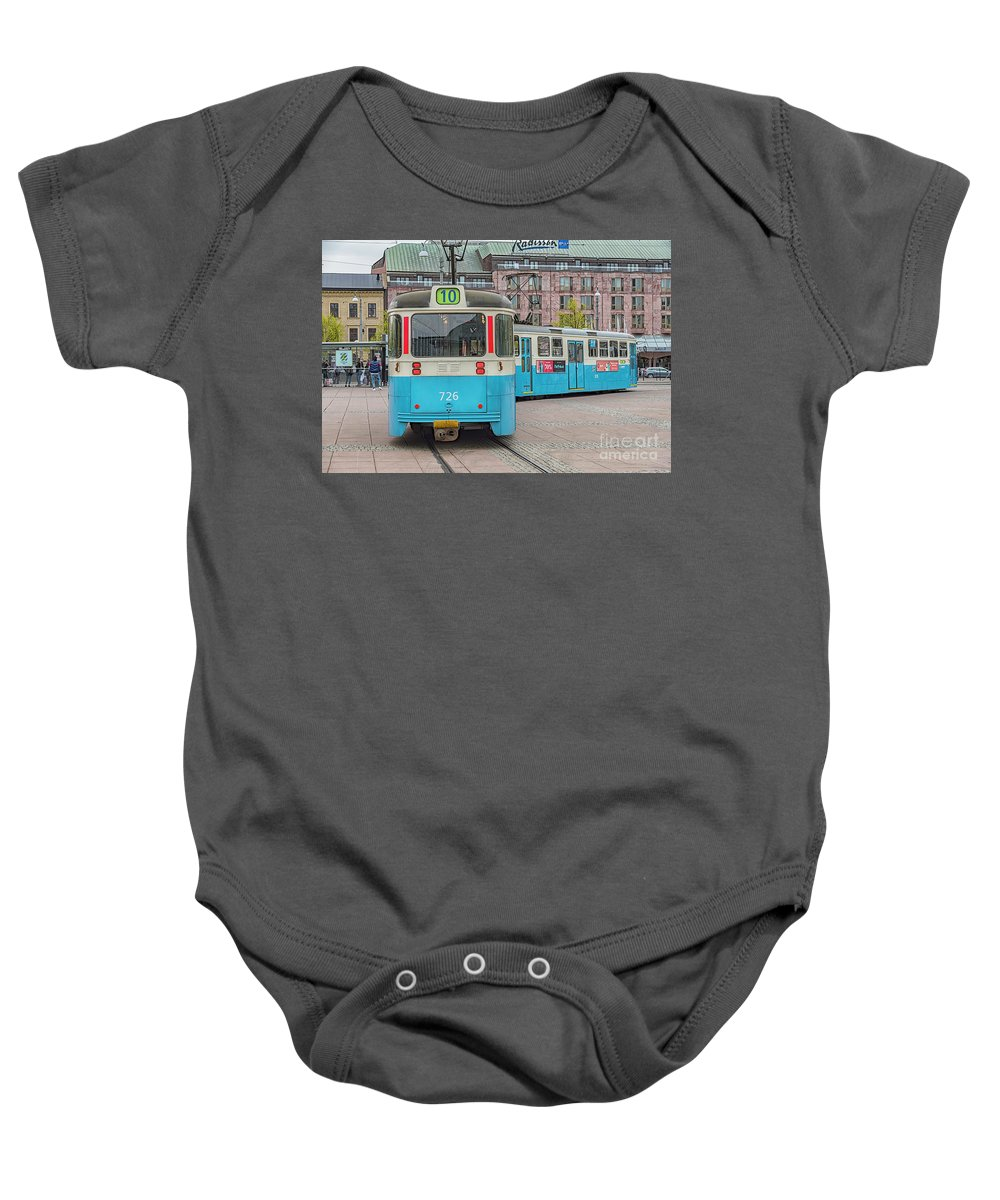 Tram Baby Onesie featuring the photograph Gothenburg Public Tram by Antony McAulay
