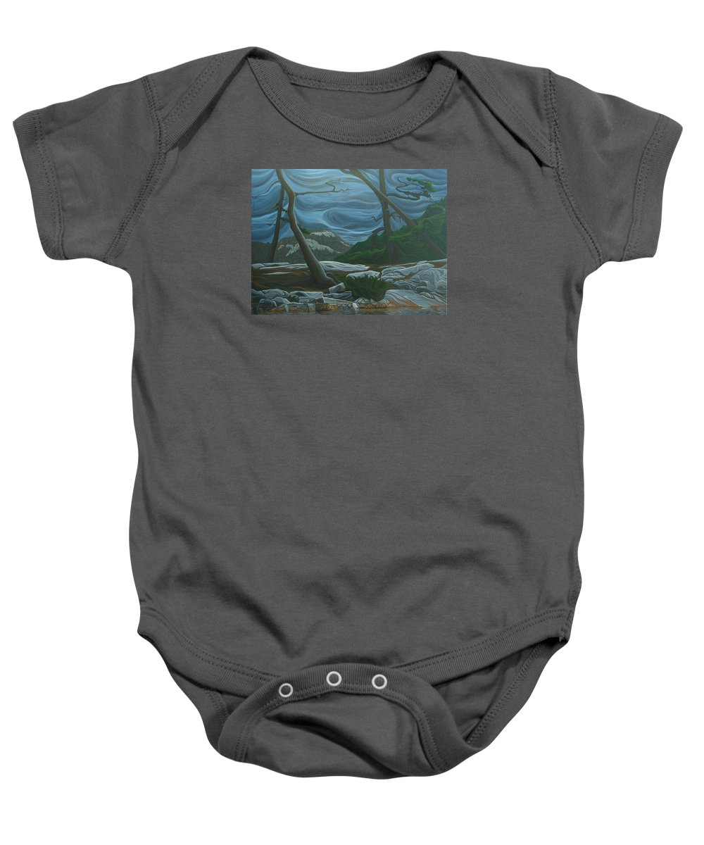 Grace Lake Baby Onesie featuring the painting Grace Lake by Jan Lyons