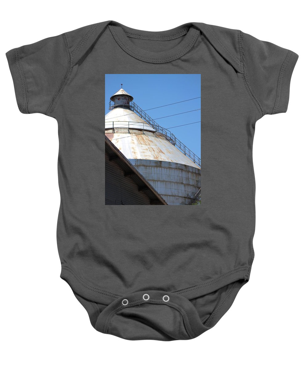 New Mexico Baby Onesie featuring the photograph Grain Silo In Roswell by Colleen Cornelius