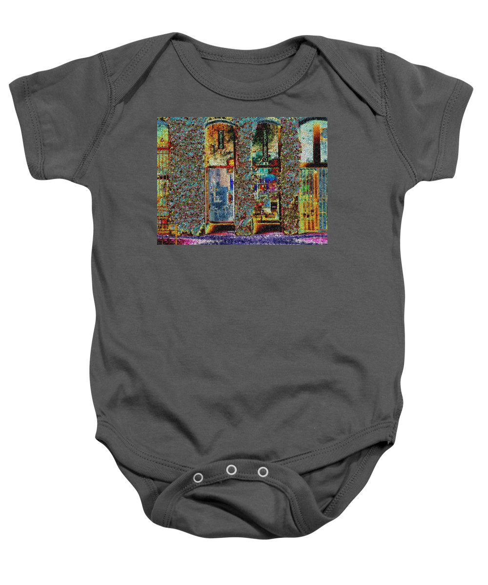 Seattle Baby Onesie featuring the digital art Grand Central Bakery Mosaic by Tim Allen
