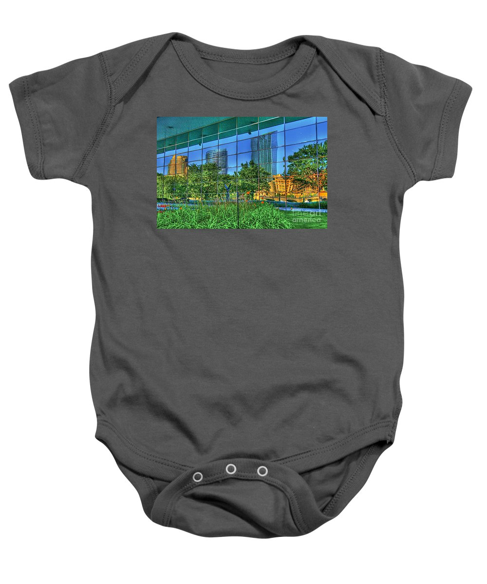 Grand Rapids Baby Onesie featuring the photograph Grand Rapids Mi On Glass-18 by Robert Pearson