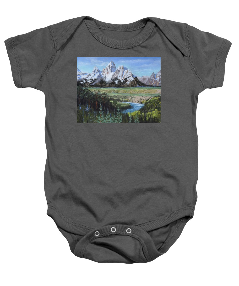Grand Teton Baby Onesie featuring the painting Grand Teton And Snake River by Heather Coen