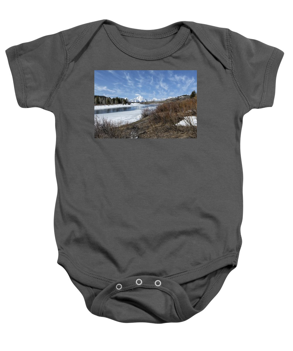Grand Tetons Baby Onesie featuring the photograph Grand Tetons From Oxbow Bend At A Distance by Belinda Greb