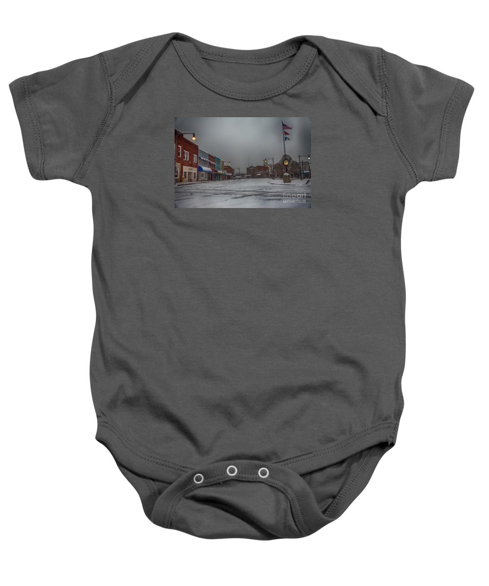 Blizzard Baby Onesie featuring the photograph Granite Falls Snow by Robert Loe