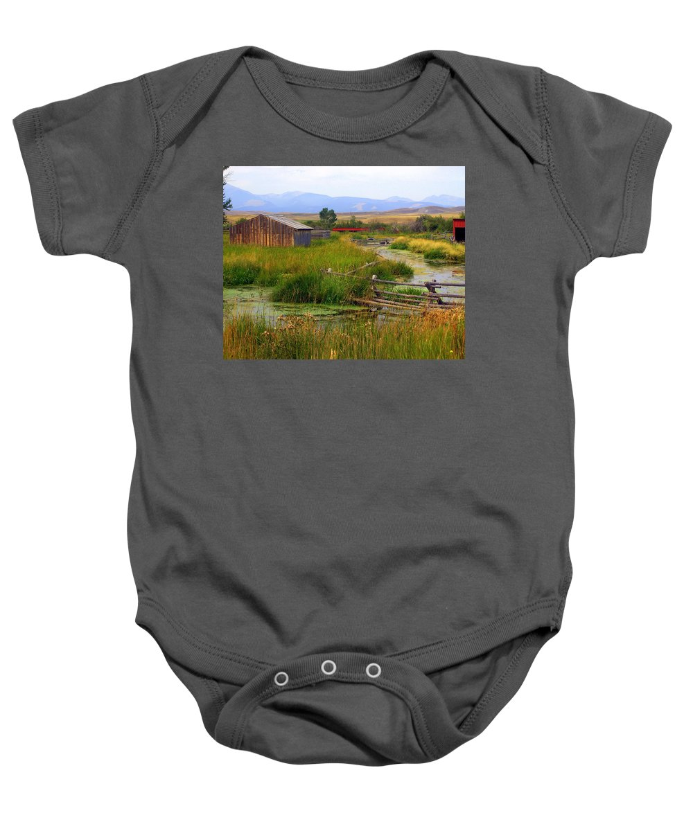 Ranch Baby Onesie featuring the photograph Grant Khors Ranch Deer Lodge Mt by Marty Koch