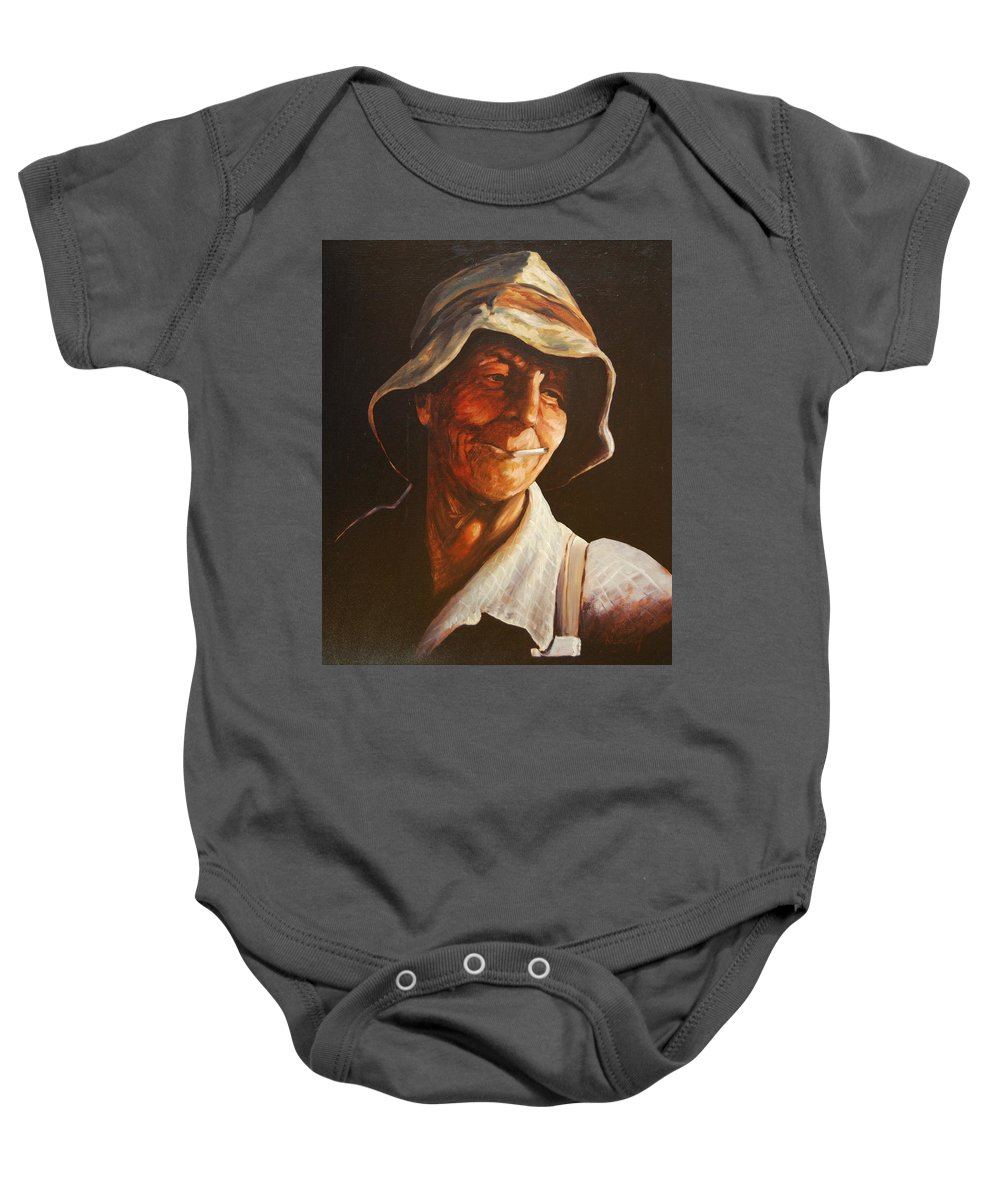 Male Baby Onesie featuring the painting Grape Picker by Rick Nederlof