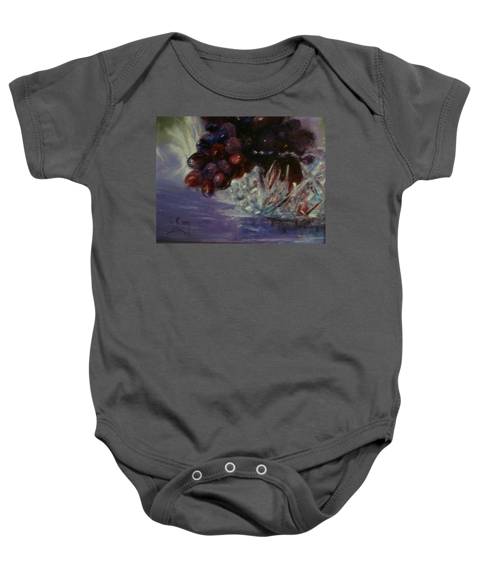 Still Life Baby Onesie featuring the painting Grapes And Glass by Stephen King