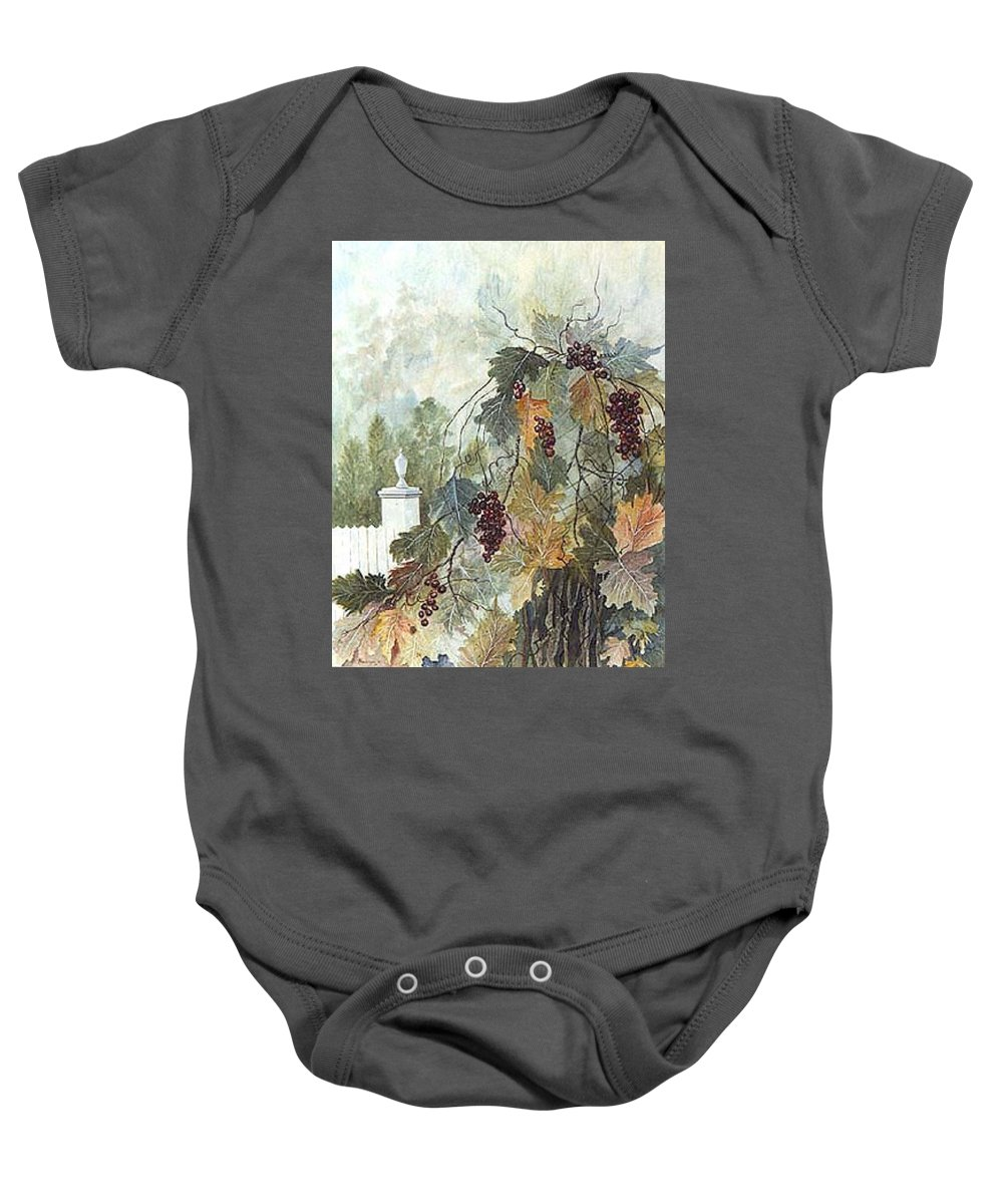 Fruit Baby Onesie featuring the painting Grapevine Topiary by Ben Kiger