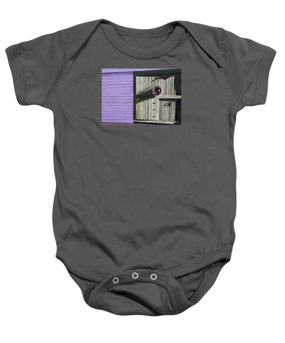 Lilac Baby Onesie featuring the painting Grapevine Wreath by Anna Roberts