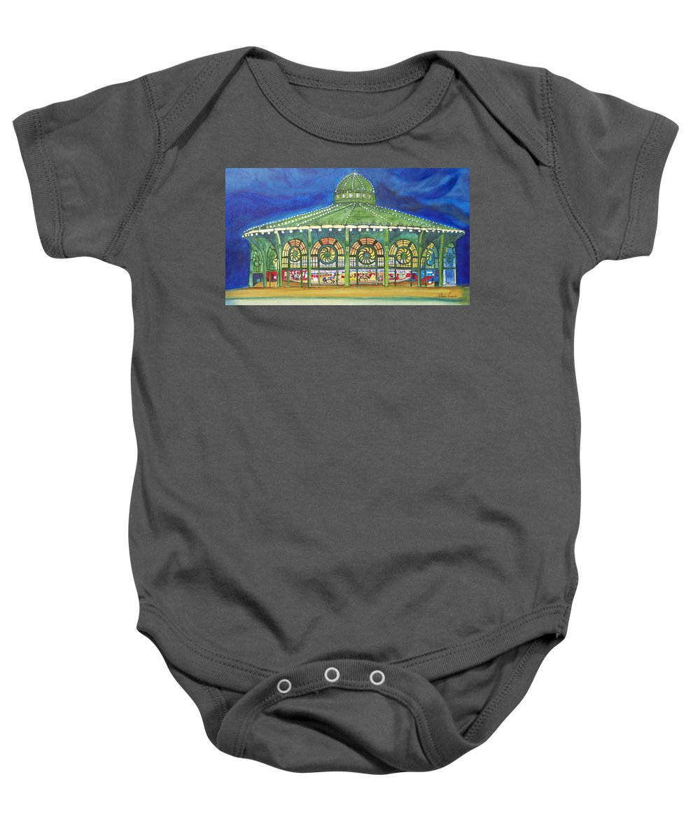 Night Paintings Of Asbury Park Baby Onesie featuring the painting Grasping The Memories by Patricia Arroyo