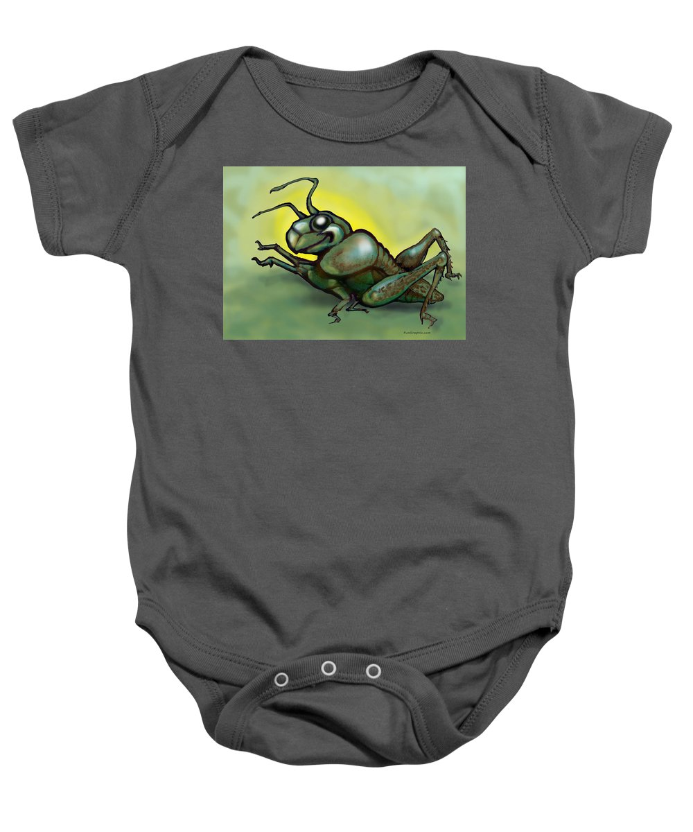 Grasshopper Baby Onesie featuring the greeting card Grasshopper by Kevin Middleton