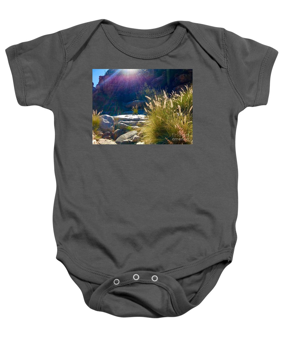 Marie Baby Onesie featuring the photograph Grassy Sun Rays by Marie Webb