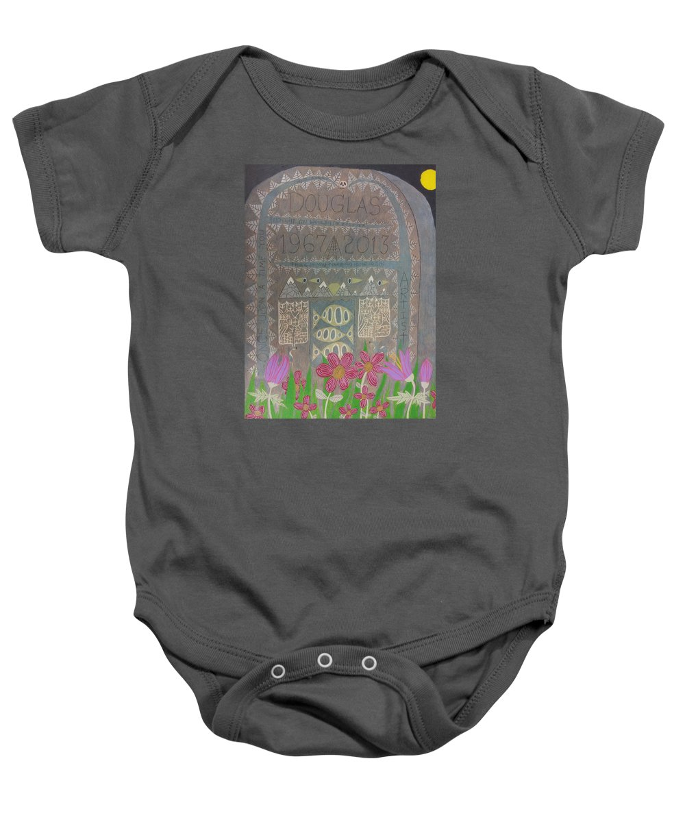 Death Nature Text Self-portrait Religion Birth Fear Anxiety Baby Onesie featuring the drawing Gravestone 1 by William Douglas