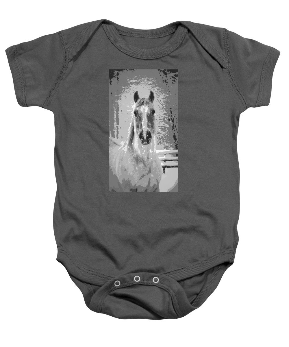 Horse Baby Onesie featuring the photograph Gray Horse by Tina Meador