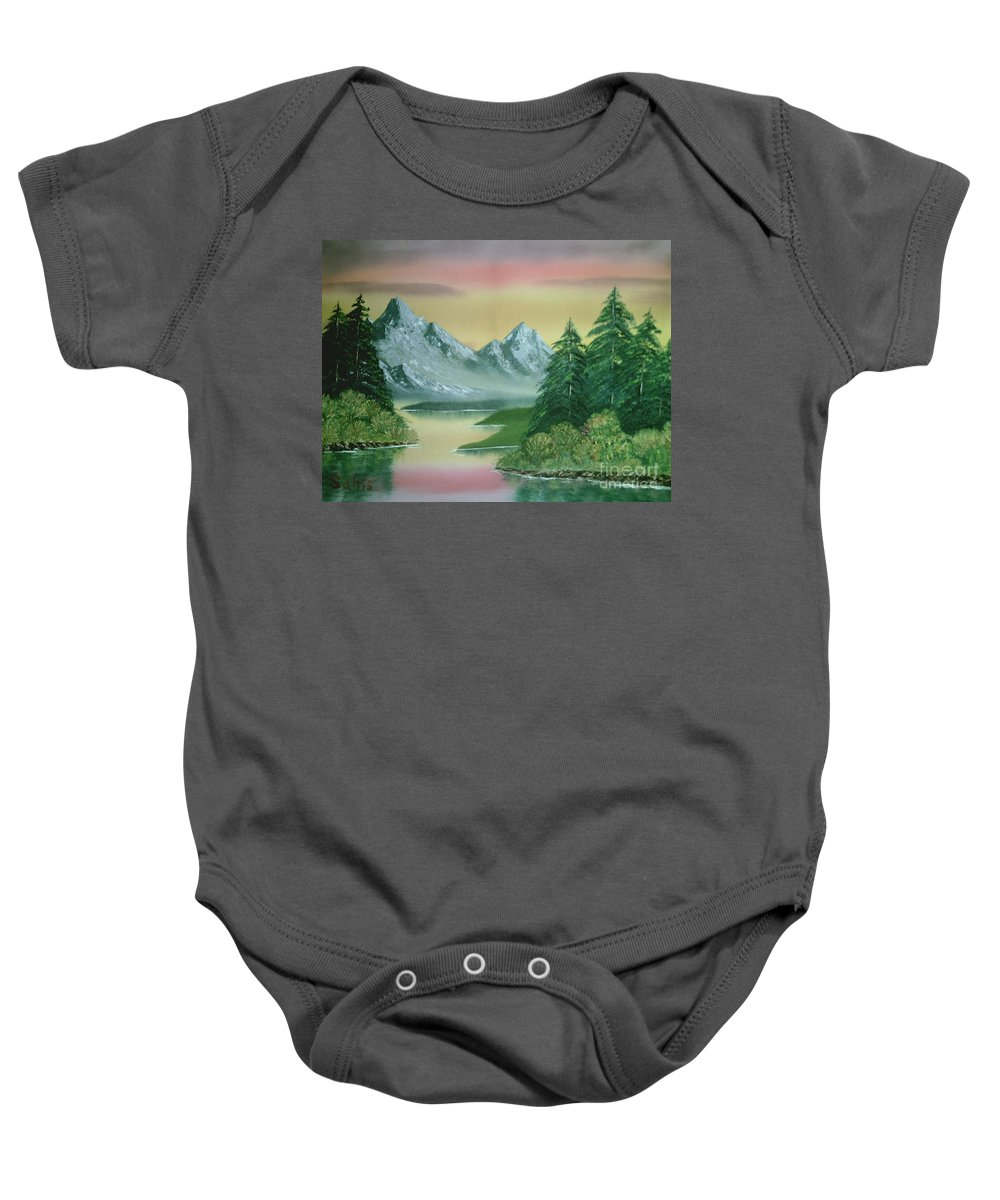 Bright Sky Baby Onesie featuring the painting Gray Mountains by Jim Saltis