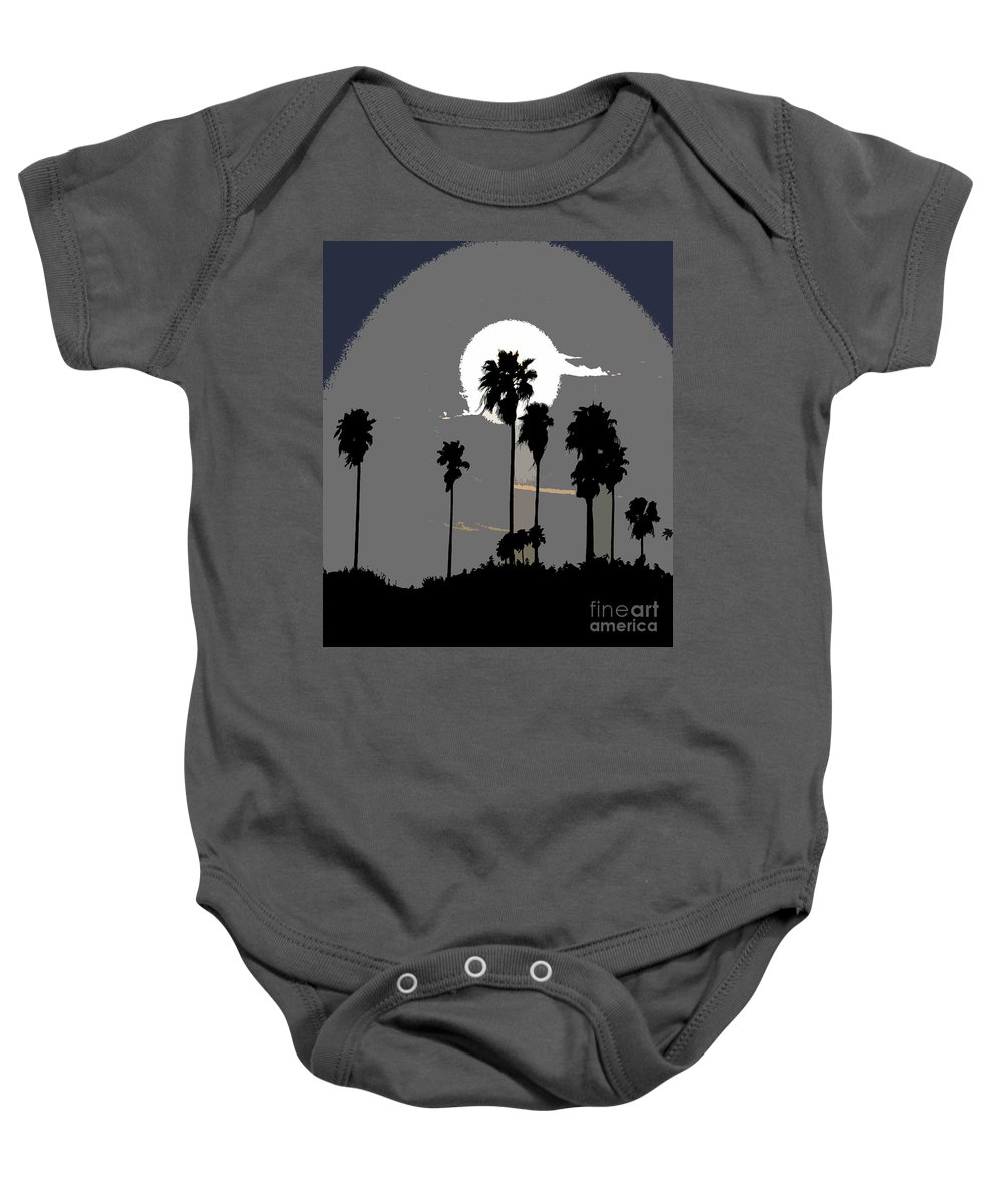 Palms Baby Onesie featuring the painting Gray Palms by David Lee Thompson