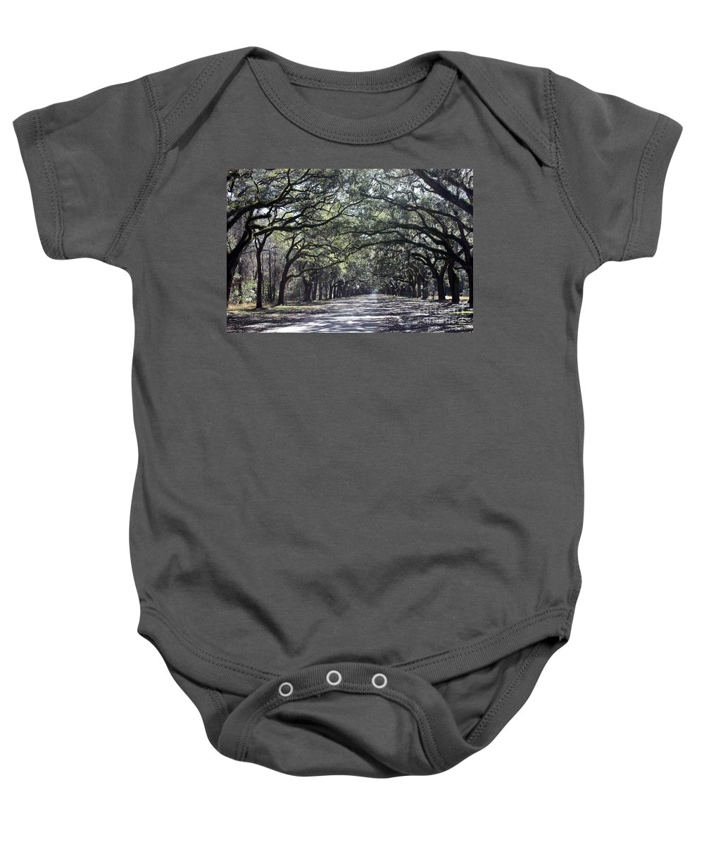 Live Oaks Baby Onesie featuring the photograph Grays And Greens And A Little Misty by Carol Groenen