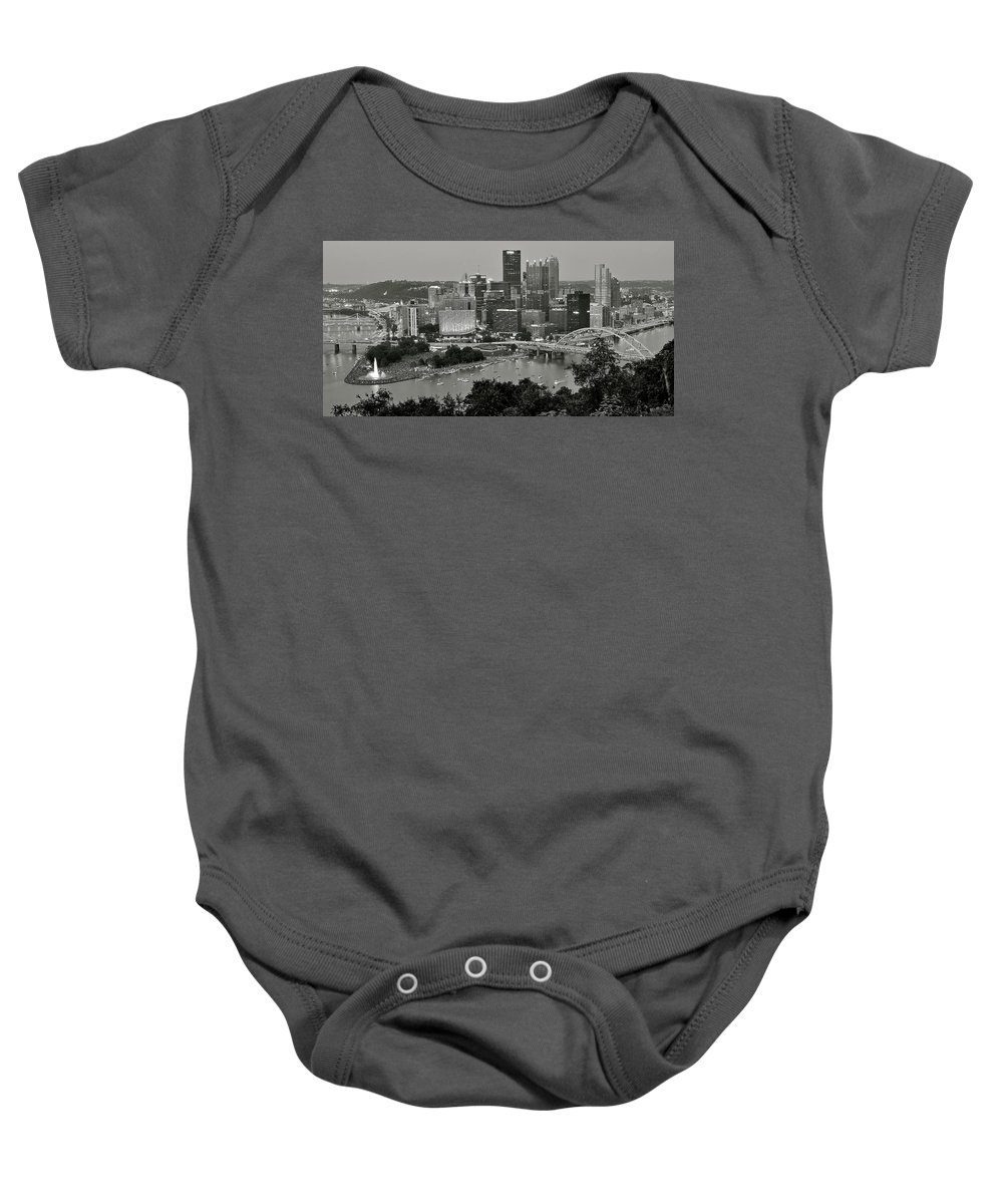 Pittsburgh Baby Onesie featuring the photograph Grayscale Pittsburgh by Frozen in Time Fine Art Photography