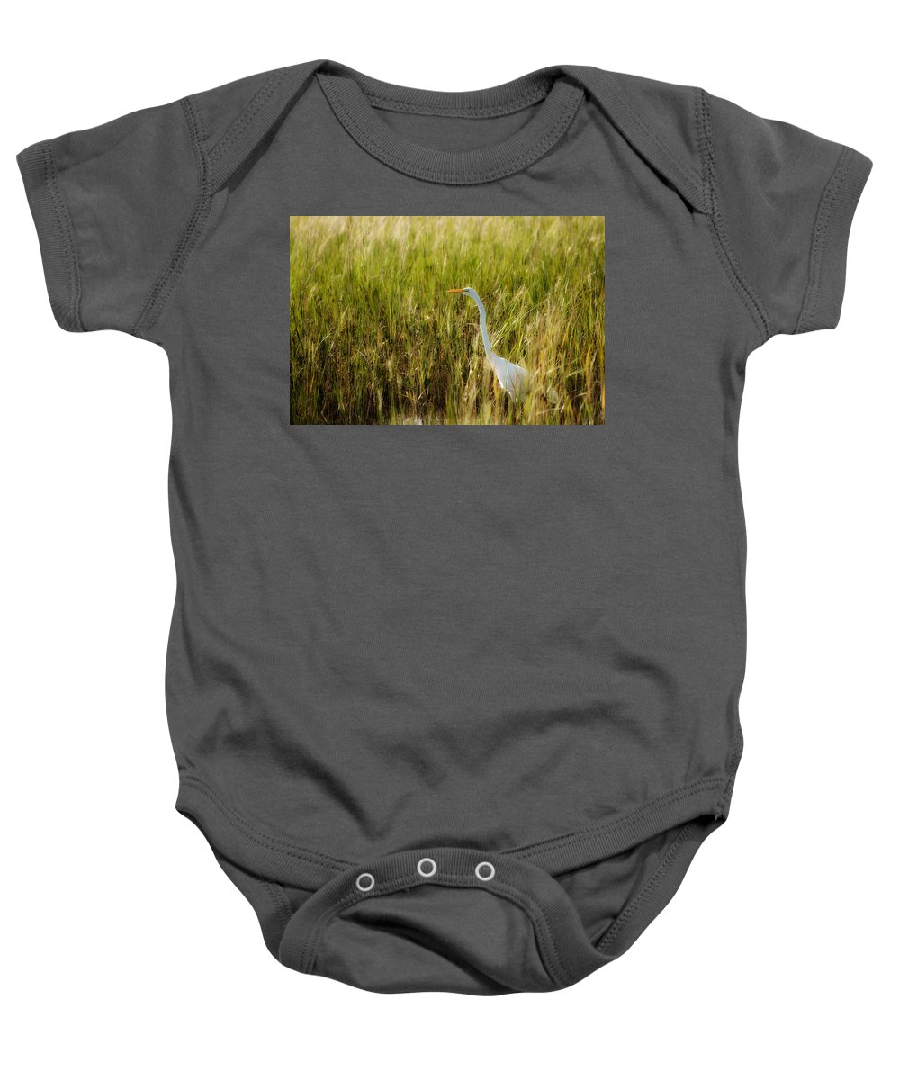 Ardea Alba Baby Onesie featuring the photograph Great Egret In The Morning Dew by Rich Leighton