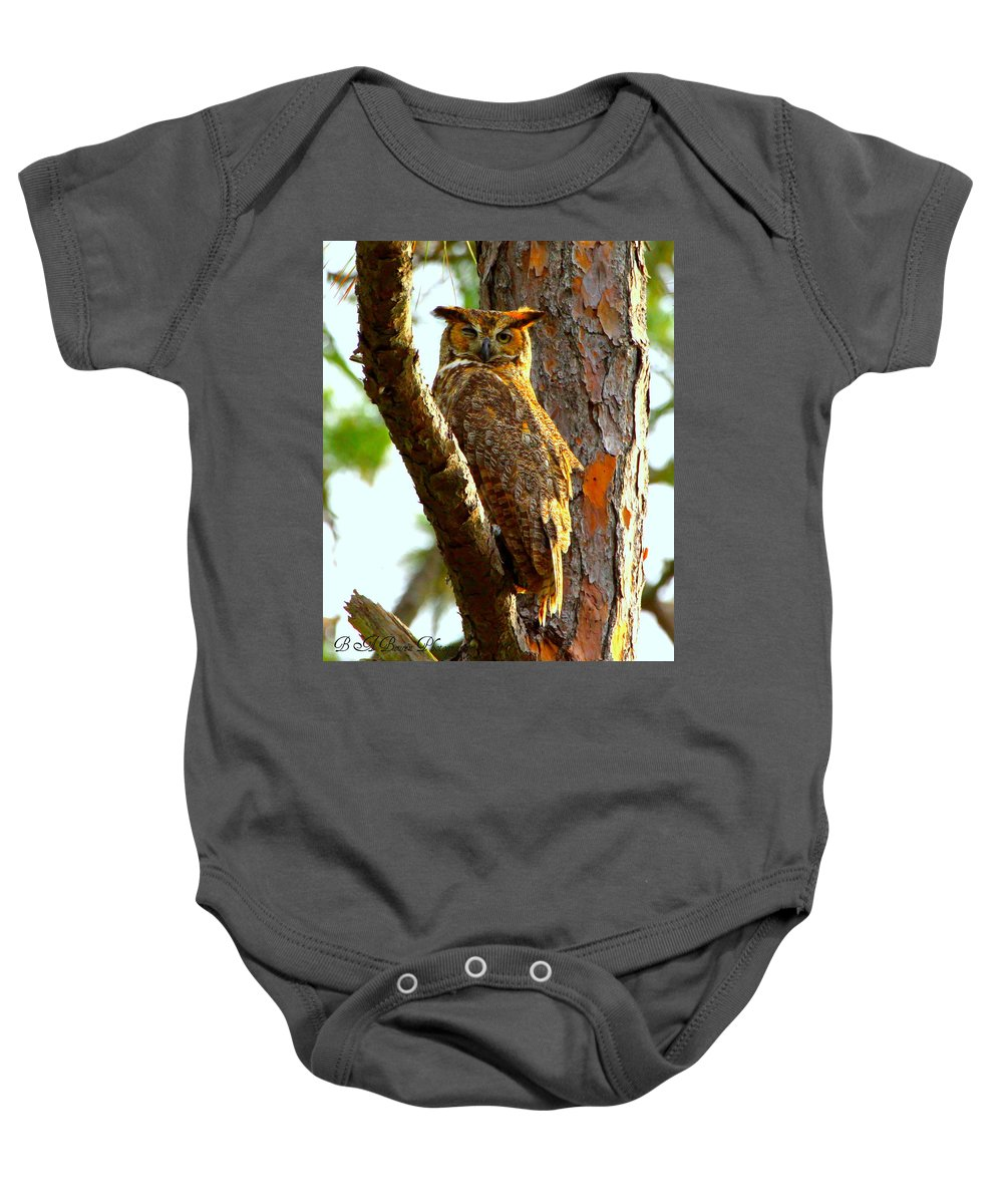 Great Horned Owl Baby Onesie featuring the photograph Great Horned Owl Wink by Barbara Bowen