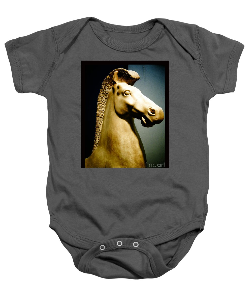 Greek Baby Onesie featuring the photograph Greek Horse Statue by Sonal Dave