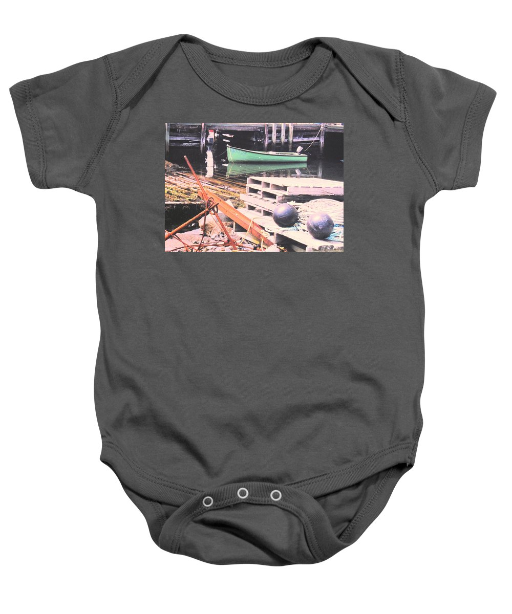 Green Baby Onesie featuring the photograph Green Boat by Ian MacDonald