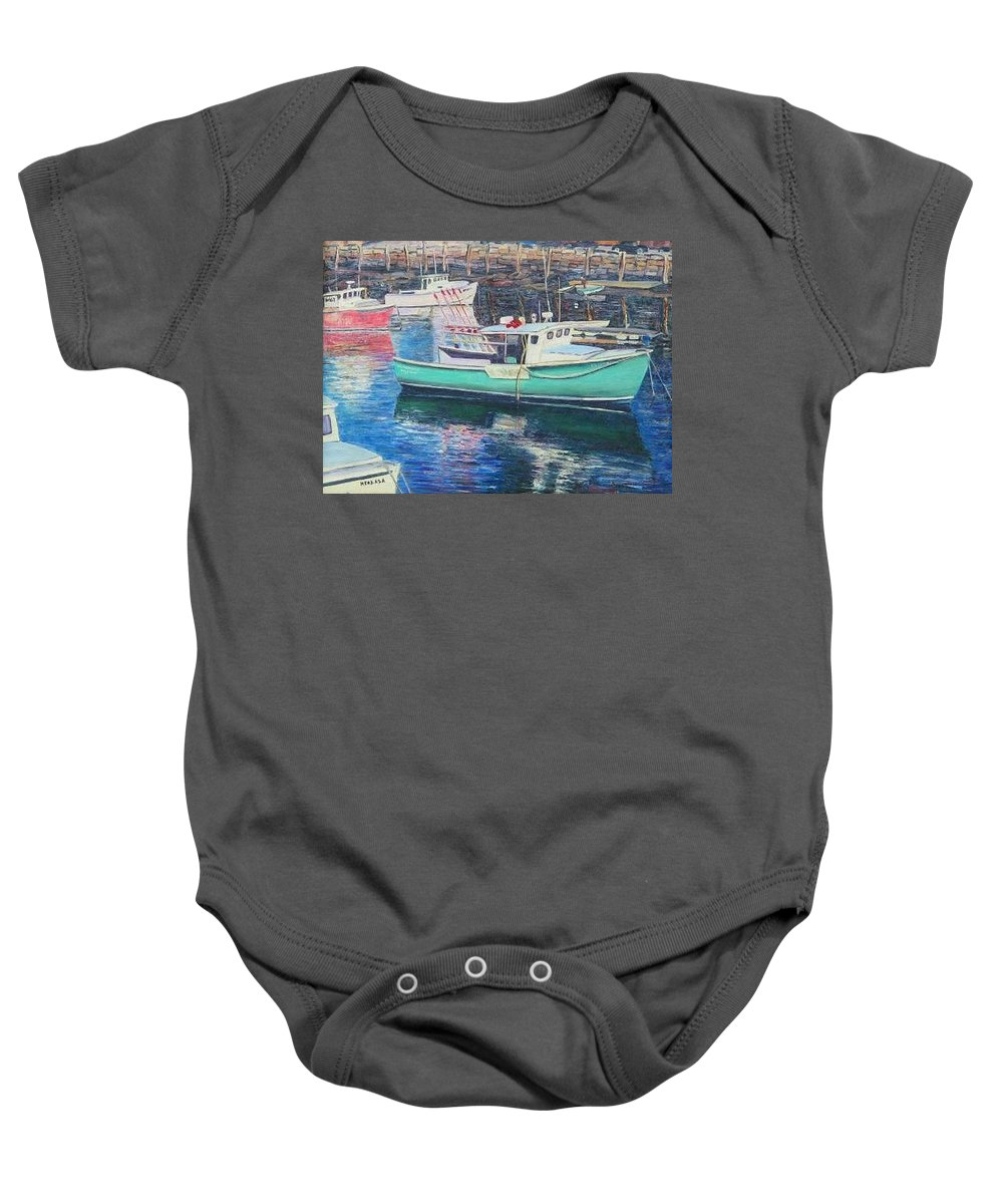 Water Baby Onesie featuring the painting Green Boat Reflections by Richard Nowak
