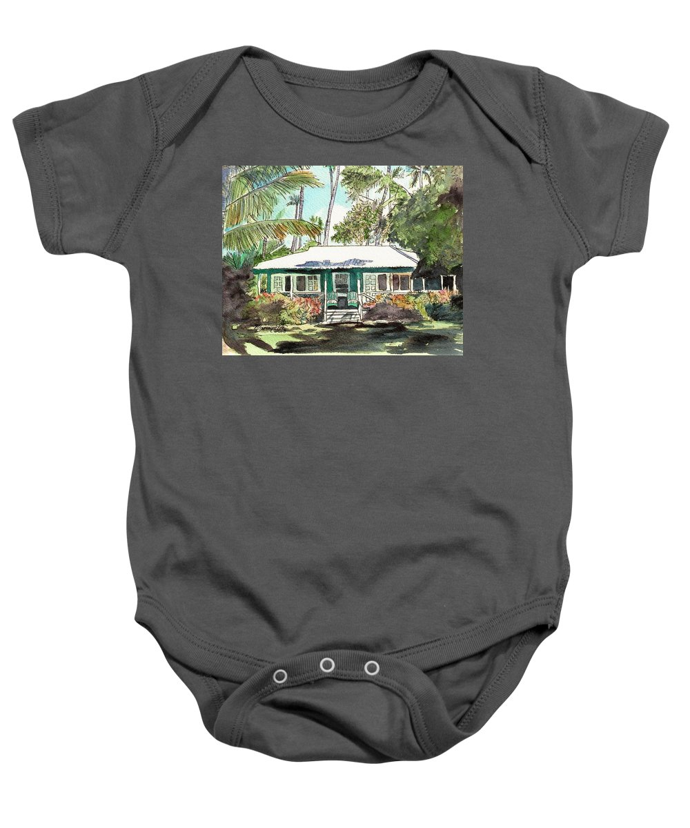 Cottage Baby Onesie featuring the painting Green Cottage by Marionette Taboniar