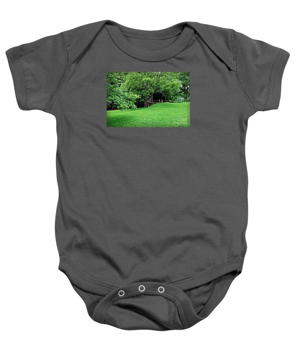 Virginia Covered Bridge Baby Onesie featuring the photograph Green Covered Bob White by Eric Liller